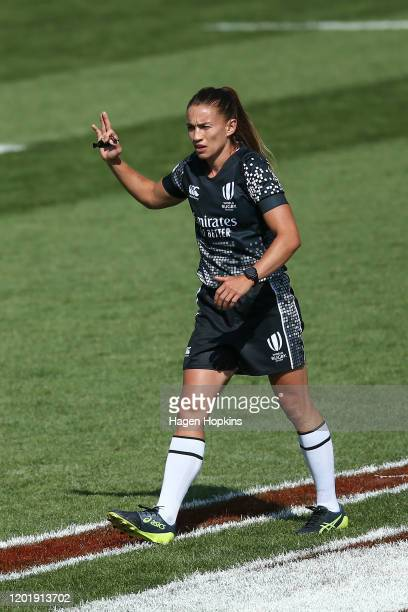 Referee Selica Winiata in action during the match between Australia and USA at the 2020 HSBC Sevens at FMG Stadium Waikato on January 26, 2020 in...