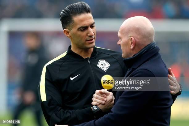 referee Serdar Gozubuyuk assistant trainer Jan Wouters of Feyenoord during the Dutch Eredivisie match between Feyenoord v Excelsior at the Stadium...