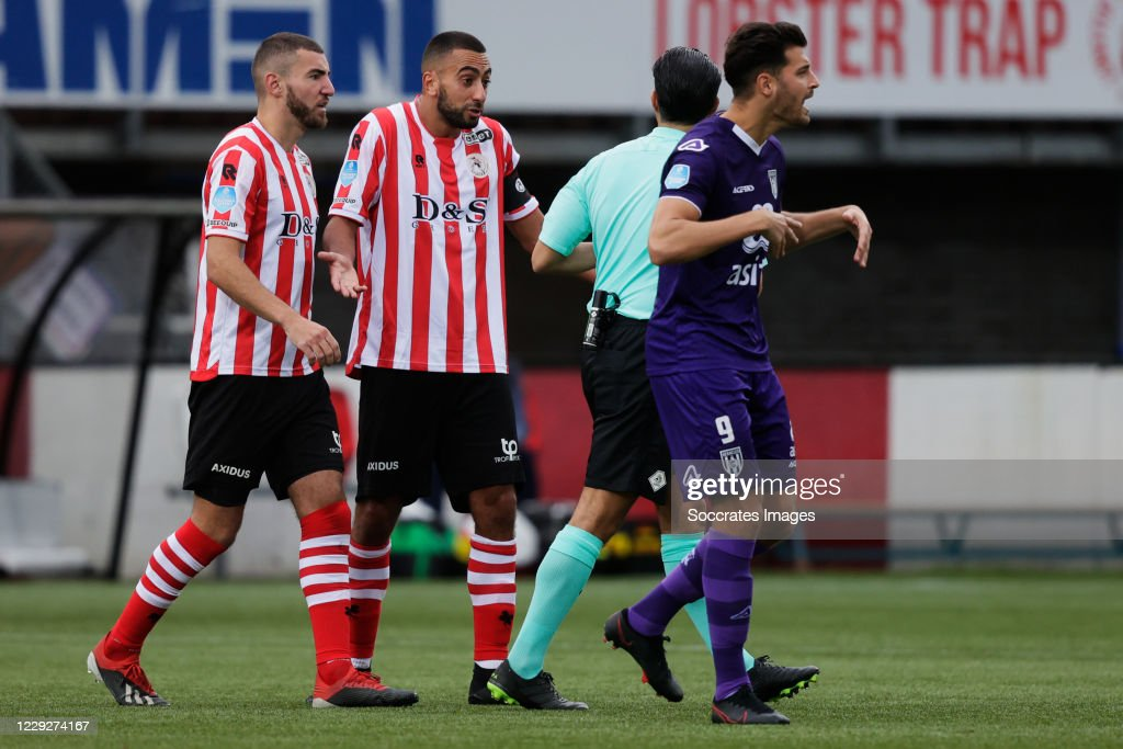Referee Serdar Gozubuyuk Gives Red Card To Adil Auassar Of Sparta News Photo Getty Images