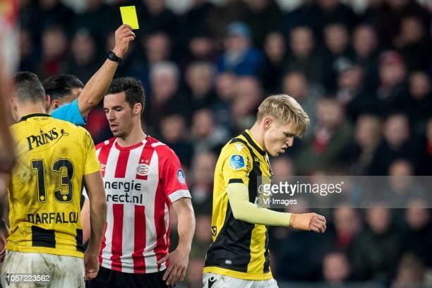 referee Serdar Gozubuyuk Nick Viergever of PSV Martin Odegaard of Vitesse during the Dutch Eredivisie match between PSV Eindhoven and Vitesse Arnhem...