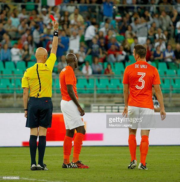 Referee Sergey Karasev shows the red card to Bruno Martins Indi of Netherlands during the international friendly match between Italy and Nethrerlands...