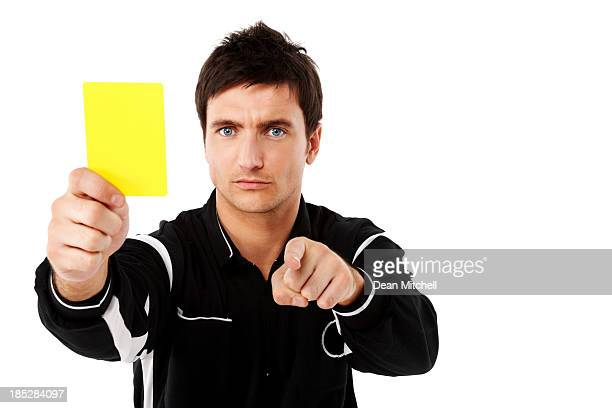 referee showing the yellow card to you - soccer referee stock photos and pictures