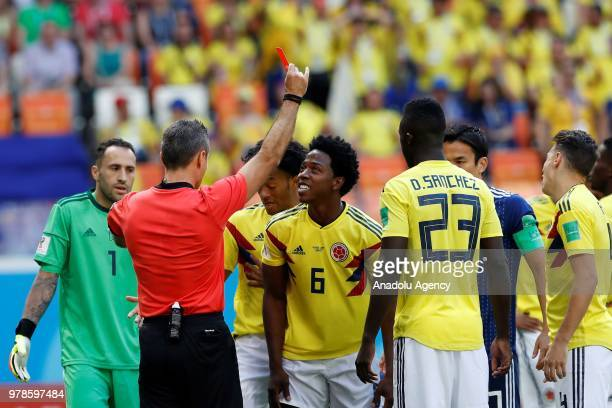 Referee shows a red card to Carlos Sanchez of Colombia during the 2018 FIFA World Cup Russia Group H match between Colombia and Japan in Saransk...