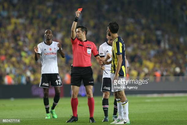 Referee shows red card to Neto of Fenerbahce during the Turkish Super Lig week 6 soccer match between Fenerbahce and Besiktas at Ulker Stadium in...