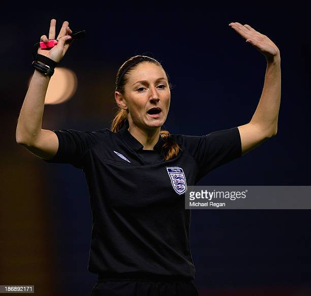 Referee Sian Massey gestures during the Barclays U21 Premier League match between Leicester City U21 and Blackburn Rovers U21 at The King Power...