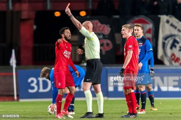 referee Siemen Mulder gives a red card to Cristian Cuevas of FC Twente during the Dutch Eredivisie match between FC Twente Enschede and AZ Alkmaar at...