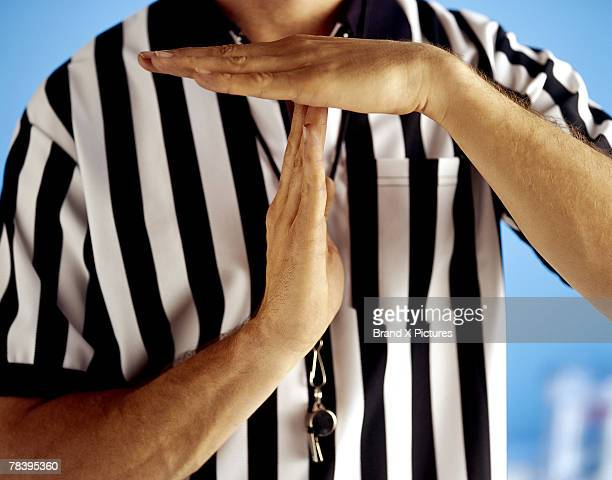 referee signaling time-out - resting stock pictures, royalty-free photos & images
