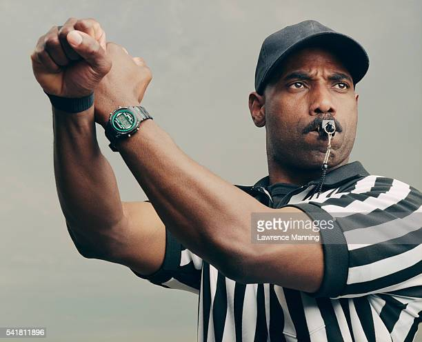 referee signalling illegal play - referee stock pictures, royalty-free photos & images