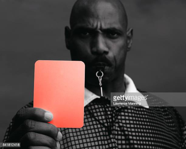 referee signalling with red card - referee stock pictures, royalty-free photos & images