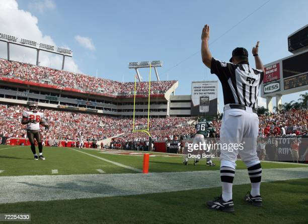 A referee signals a touchdown as Brian Westbrook of the Philadelphia Eagles scores during the game against the Tampa Bay Buccaneers at Raymond James...