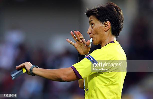 Referee Silvia Tea Spinelli of Italy blows the whistle during the UEFA Women's Euro 2013 group B match at Vaxjo Arena on July 11 2013 in Vaxjo Sweden