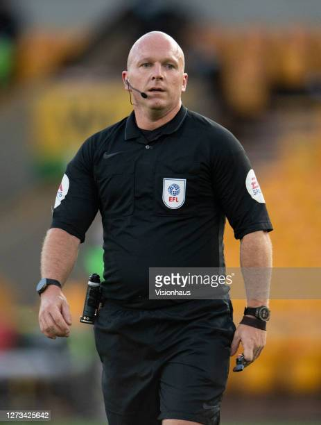 Referee Simon Hooper during the Carabao Cup second round match between Wolverhampton Wanderers and Stoke City at Molineux on September 17 2020 in...