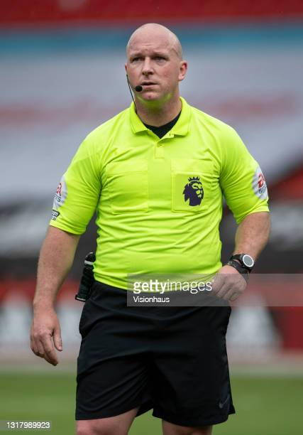 Referee Simon Hooper during the Premier League match between Sheffield United and Crystal Palace at Bramall Lane on May 8, 2021 in Sheffield, United...