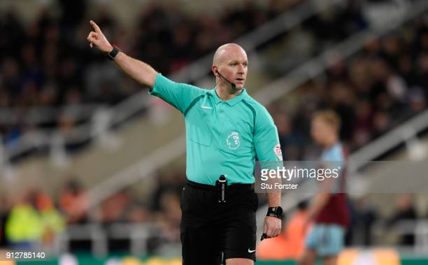 Referee Simon Hooper in action during the Premier League match between Newcastle United and Burnley at St James Park on January 31 2018 in Newcastle...