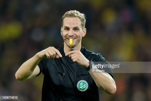 Referee Soeren Storks gestures during the Roman Weidenfeller Farewell Match between BVB Allstars and Roman and Friends at Signal Iduna Park on...
