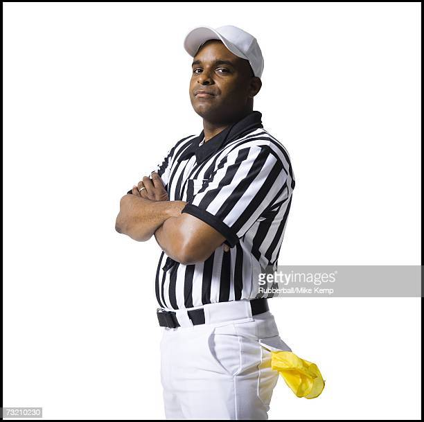 referee standing with arms crossed - american football judge stock pictures, royalty-free photos & images
