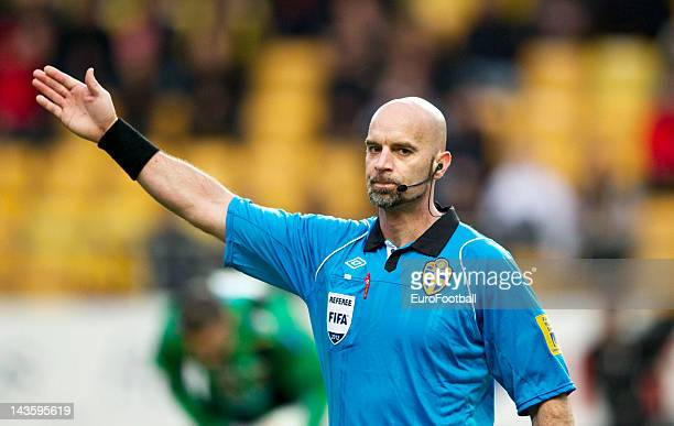 Referee Stefan Johannesson during the Swedish Allsvenskan League match between IF Elfsborg and GAIS Goteborg held on April 26 2012 at the Boras Arena...