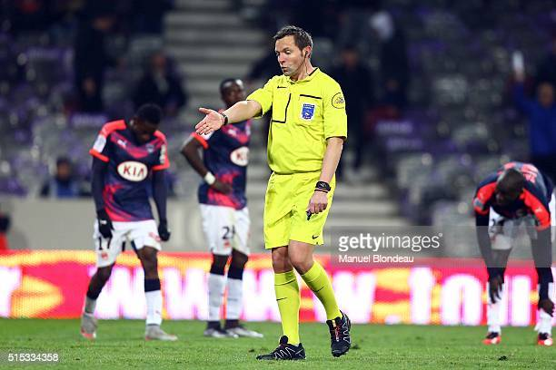 Referee Stephane Lannoy during the French Ligue 1 match between Toulouse FC v FC Girondins de Bordeaux at Stadium Municipal on March 12 2016 in...