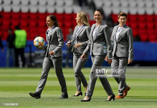 Referee Stephanie Frappart and her assistant referees are seen on the pitch prior to the 2019 FIFA Women's World Cup France group D match between...