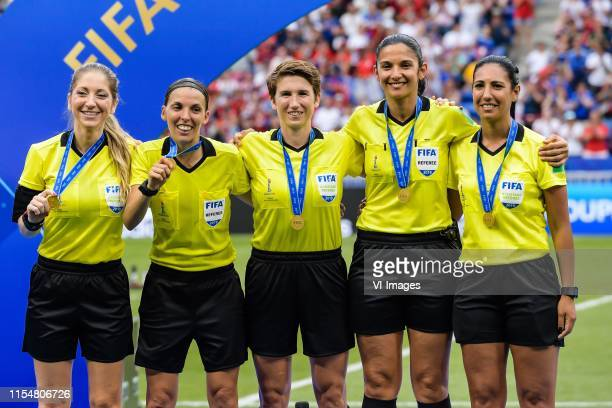 referee Stephanie Frappart and her assistents during the FIFA Women's World Cup France 2019 final match between United States of America and The...