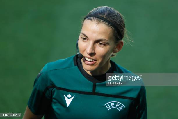 Referee Stephanie Frappart during a training session ahead of the UEFA Super Cup match against Chelsea on August 13 2019 at Besiktas Park in Istanbul...