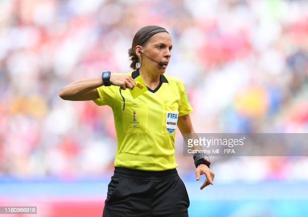 Referee Stephanie Frappart during the 2019 FIFA Women's World Cup France Final match between The United State of America and The Netherlands at Stade...