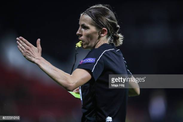 Referee Stephanie Frappart during the Group A match between Norway and Denmark during the UEFA Women's Euro 2017 at Stadion De Adelaarshorst on July...