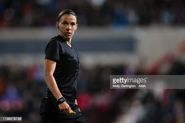 Referee Stephanie Frappart during the International Friendly between England Women and Spain Women at County Ground on April 9 2019 in Swindon England