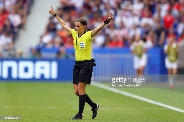 Referee Stephanie Frappart gestures during a VAR review during the 2019 FIFA Women's World Cup France Final match between The United States of...