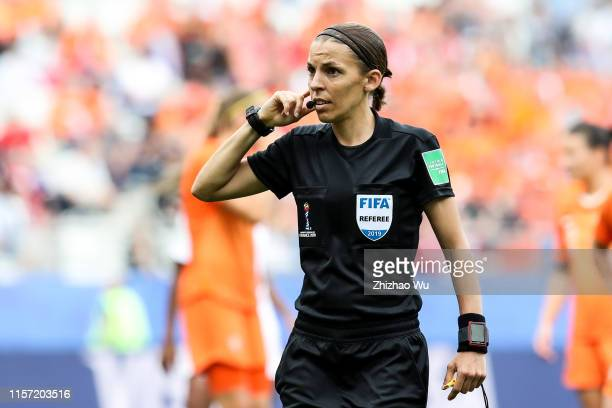 Referee Stephanie Frappart gestures during the 2019 FIFA Women's World Cup France group E match between Netherlands and Canada at Stade Auguste...