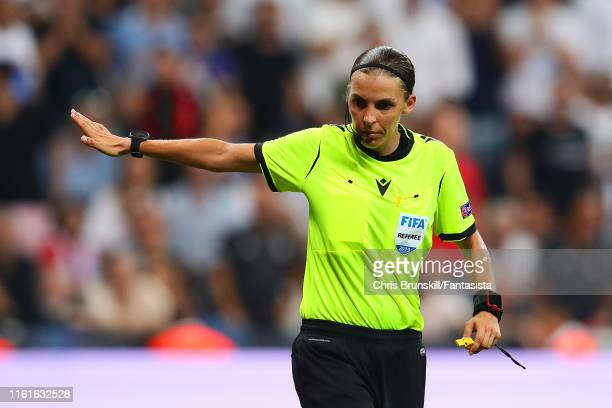 Referee Stephanie Frappart gestures during the UEFA Super Cup match between Liverpool and Chelsea at Vodafone Park on August 14 2019 in Istanbul...