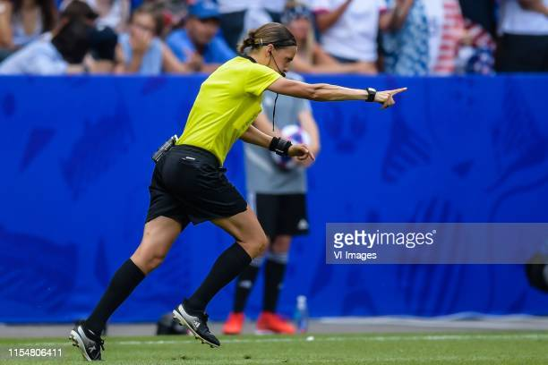 referee Stephanie Frappart gives a penalty after consulting the VAR during the FIFA Women's World Cup France 2019 final match between United States...