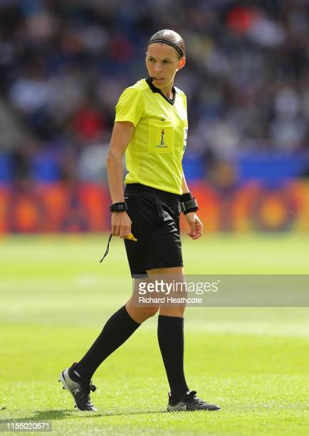 Referee Stephanie Frappart looks on during the 2019 FIFA Women's World Cup France group D match between Argentina and Japan at Parc des Princes on...
