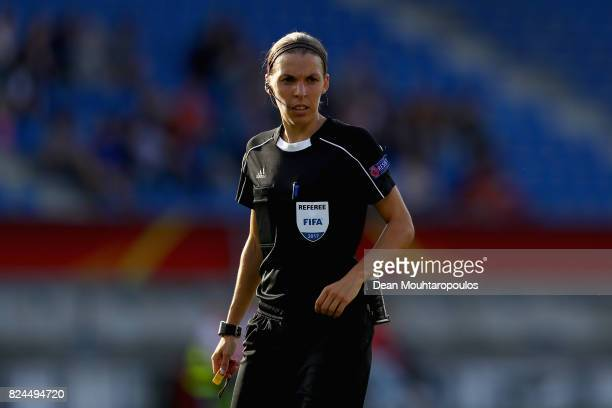 Referee Stephanie Frappart looks on during the UEFA Women's Euro 2017 Quarter Final match between Austria and Spain at Koning Willem II Stadium on...