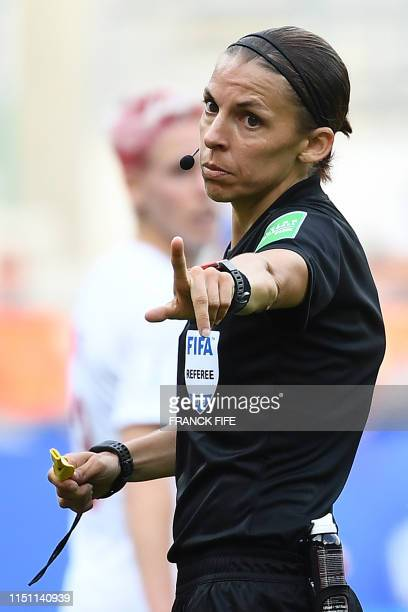 Referee Stephanie Frappart of France gestures during the France 2019 Women's World Cup Group E football match between the Netherlands and Canada on...