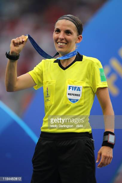 Referee Stephanie Frappart of France holds her medal during the 2019 FIFA Women's World Cup France Final match between Winner The United States of...