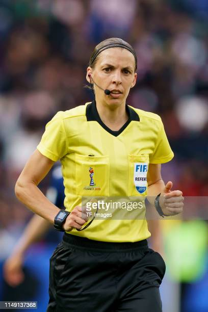 referee Stephanie Frappart of France looks on during the 2019 FIFA Women's World Cup France group D match between Argentina and Japan at Parc des...