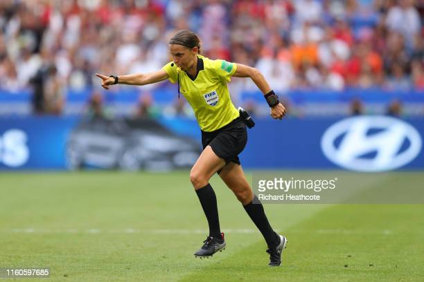 Referee Stephanie Frappart points to the penalty spot following a VAR review during the 2019 FIFA Women's World Cup France Final match between The...