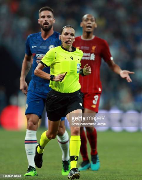 Referee Stephanie Frappart react during the UEFA Super Cup match between Liverpool and Chelsea at Vodafone Park on August 14 2019 in Istanbul Turkey...