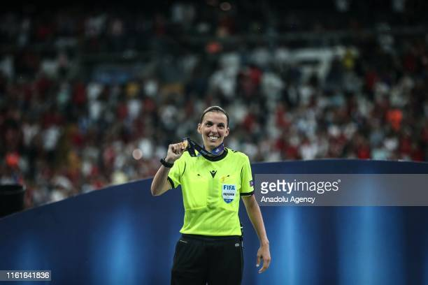 Referee Stephanie Frappart shows her medal after leading the 2019 UEFA Super Cup final at Vodafone Park in Istanbul Turkey on August 15 2019