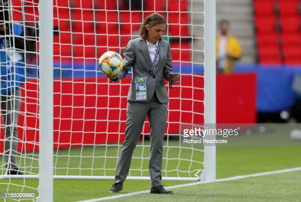 Referee Stephanie Frappart tests the Goal Line Technology prior to the 2019 FIFA Women's World Cup France group D match between Argentina and Japan...