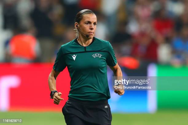 Referee Stephanie Frappart warms up prior to the UEFA Super Cup match between Liverpool and Chelsea at Vodafone Park on August 14 2019 in Istanbul...