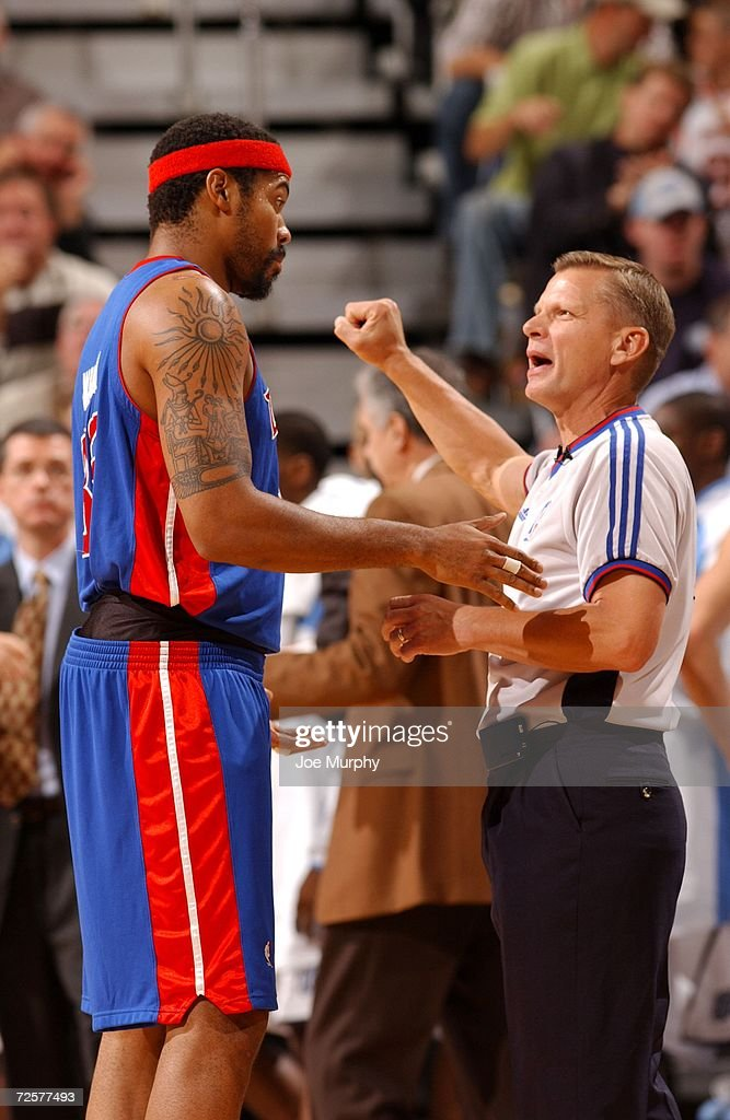 Referee Steve Javie #29 talks with Rasheed Wallace #36 of the Detroit Pistons during the game against the Utah Jazz on November 6, 2006 at the Delta Center in Salt Lake City, Utah. The Jazz won 103-101.