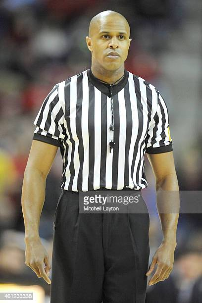 Referee Steve McJunkins looks on during a college basketball game between the Maryland Terrapins the Minnesota Golden Gophers at the Xfinity Center...