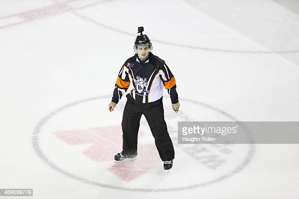 Referee Steve Picco wears a GoPro camera on his helmet during an OHL game between the Erie Otters and the Niagara IceDogs at the Meridian Centre on...