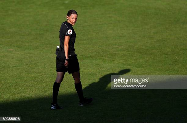 Referee Stéphanie Frappart of France looks on during the Group B match between Sweden and Russia during the UEFA Women's Euro 2017 at Stadion De...