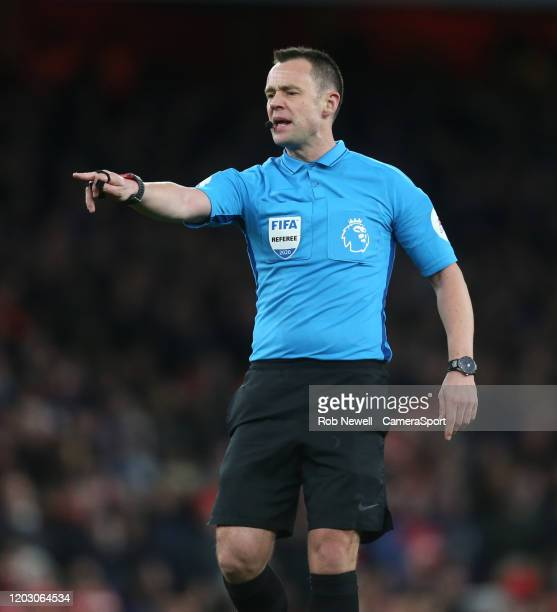Referee Stuart Attwell during the Premier League match between Arsenal FC and Everton FC at Emirates Stadium on February 23 2020 in London United...