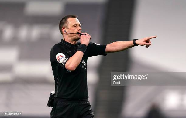 Referee Stuart Attwell makes a decision during the Premier League match between Tottenham Hotspur and Crystal Palace at Tottenham Hotspur Stadium on...
