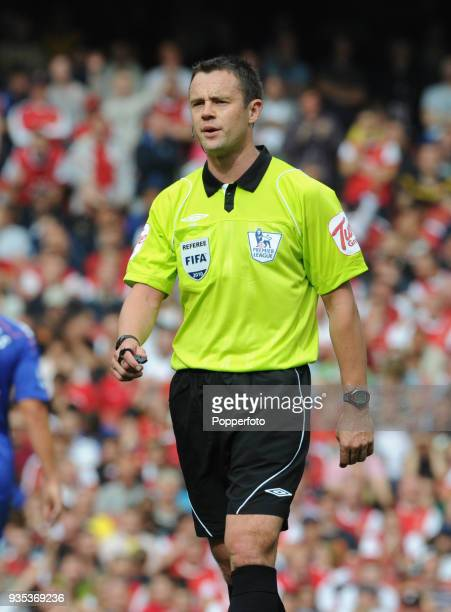 Referee Stuart Atwell in action during the Barclays Premier League match between Arsenal and Bolton Wanderers at The Emirates Stadium in London on...
