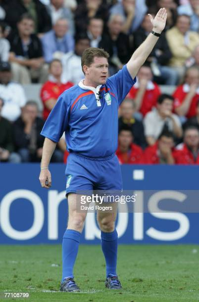 Referee Stuart Dickinson of Australia gives a decision during the Rugby World Cup 2007 Pool B match between Wales and Fiji at the Stade de la...